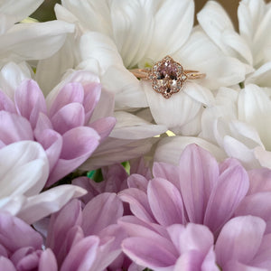 Oval Morganite Vintage Style Rose Gold Ring