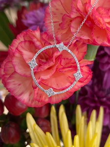 Diamond Open Circle Necklace in White Gold