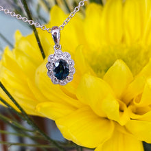 Load image into Gallery viewer, Sapphire and Diamond Halo Necklace