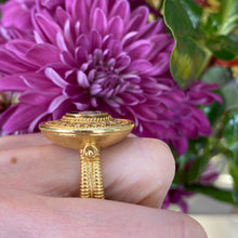 Load image into Gallery viewer, Vintage Statement Diamond Coin Ring in 18K Yellow Gold