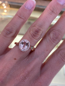 Morganite & Diamond Ring in Rose Gold