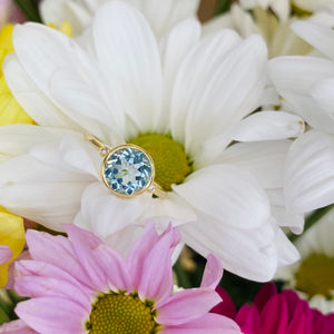 Blue Topaz and Diamond Ring in Yellow Gold