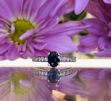 Load image into Gallery viewer, Oval Blue Sapphire & Diamond Engagement Ring