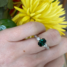 Load image into Gallery viewer, Oval Green Tourmaline & Diamond Ring