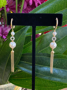 Diamond & Pearl Drop Tassel Earrings
