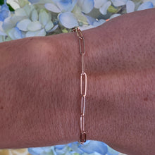 Load image into Gallery viewer, Rose Gold Paper Clip Style Link Bracelet