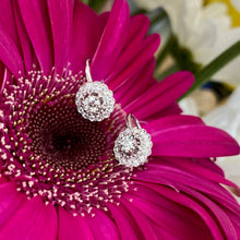 Load image into Gallery viewer, Diamond Halo Drop Earrings