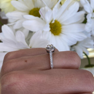 Petite Halo Diamond Engagement Ring