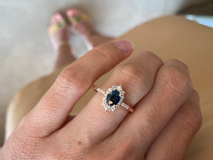Sapphire & Rose Gold Diamond Ring