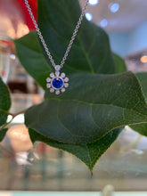 Load image into Gallery viewer, Blue Sapphire & Diamond Pendant with Chain
