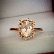 Load image into Gallery viewer, Vintage Style Oval Morganite Ring in Rose Gold