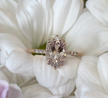 Load image into Gallery viewer, Oval Halo Morganite & Diamond Ring in Rose Gold