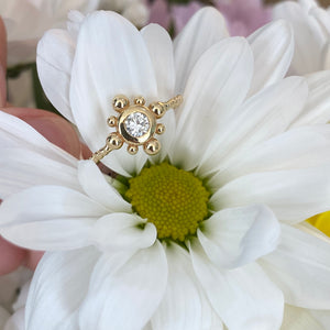 Yellow Gold and Diamond Bubble Ring