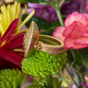 Vintage Statement Diamond Coin Ring in 18K Yellow Gold