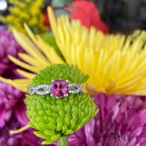 Pink Tourmaline & Diamond Infinity Twist Ring