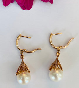 Pearl and Diamond Drop Earrings in Rose Gold