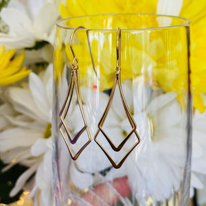 Yellow gold double diamond drop earrings