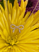 Load image into Gallery viewer, Yellow Gold Diamond Bow Necklace 🎀