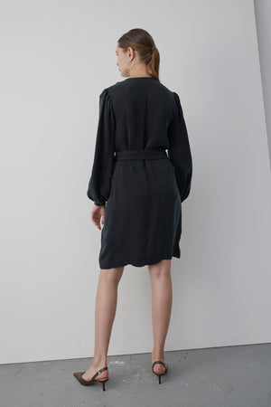 Valentina Black Wrap Dress - Les Goodies