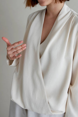 Cream Wrap Blouse - LesGoodies