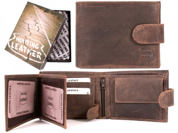 Hunting Leather Wallet 1004 Waxy Oily Brown