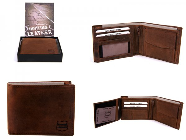 Hunting Leather Wallet 1060 Waxy Oily Leather Tan/Black or Brown