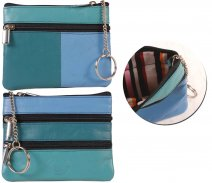 Leather Zip Coin Purse 1059 London Leathergoods Assorted Colours