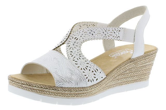Rieker 61916-80 Wedge Summer Sandal White/Silver