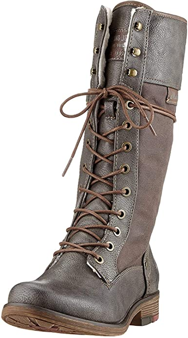 Mustang Long Lace up Boot 1295-606-20 Dark Grey