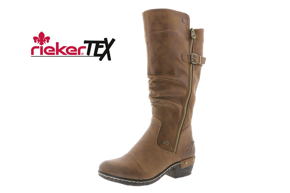 Rieker Tex 93654-22 Tall Zip Boot Tan