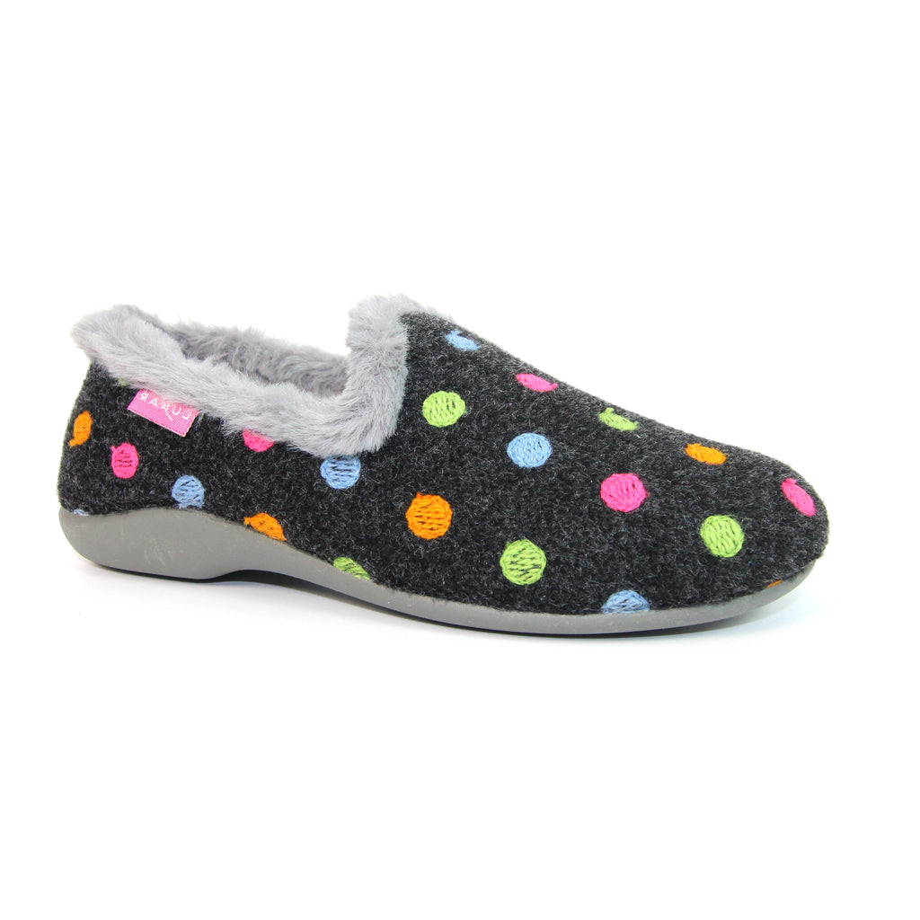 Lunar Astrid Ladies Full Slipper Black Spotty