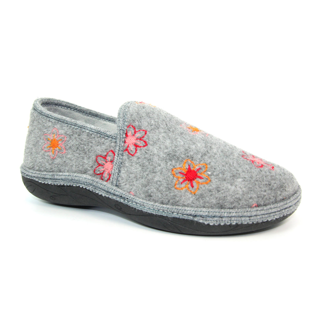 Lunar Camden Ladies Full Slipper Grey Floral