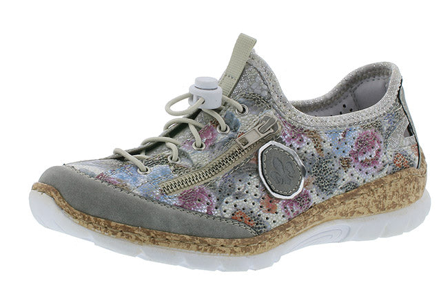 Rieker N42V1-40 Leisure Shoe Grey/White Multi