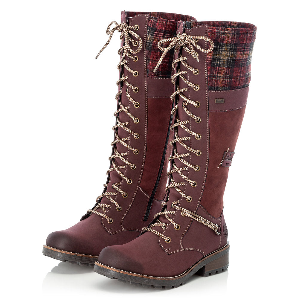 Rieker Tex Z0442-36 Long Lace & Zip Boot Wine