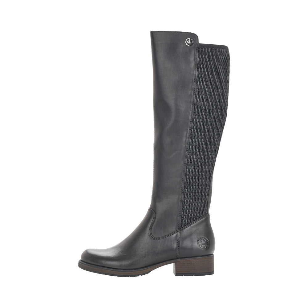 Rieker Z9591-00 Long Stretch Calf Boot Black
