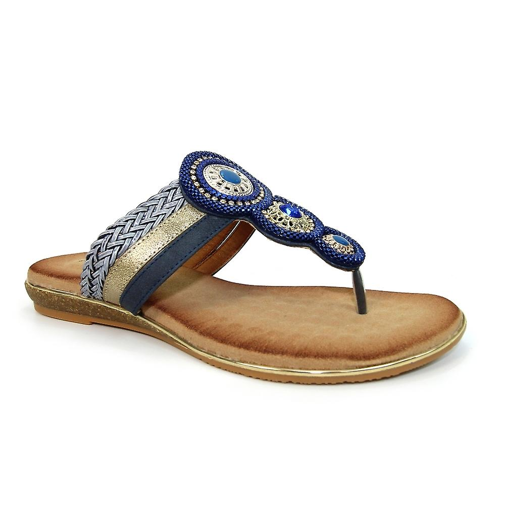 Lunar Carlotta Toe Post Sandal JLH198 Blue