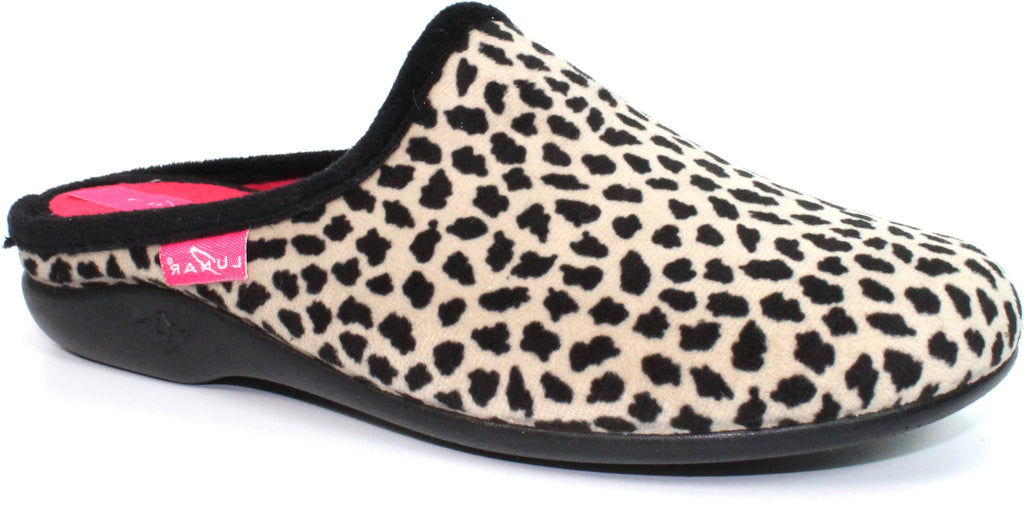 Lunar Ghana Ladies Mule Slipper Beige Print
