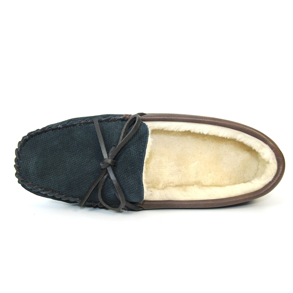 Goodyear Landry Mens Moccasin Suede Slipper Blue