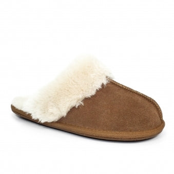Lunar Rapsody Ladies Suede Mule Slipper Tan