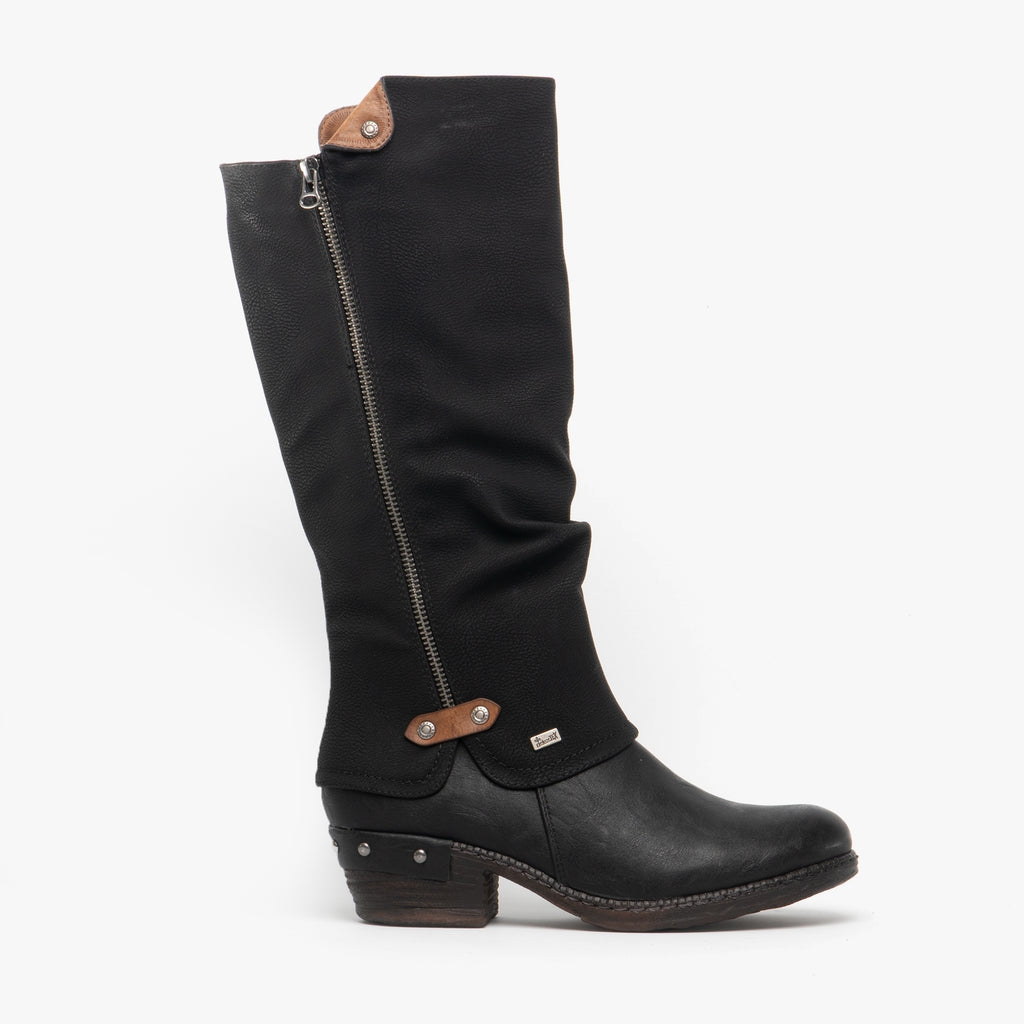 Rieker Tex 93655-00 Long Rouch Leg Boot Black