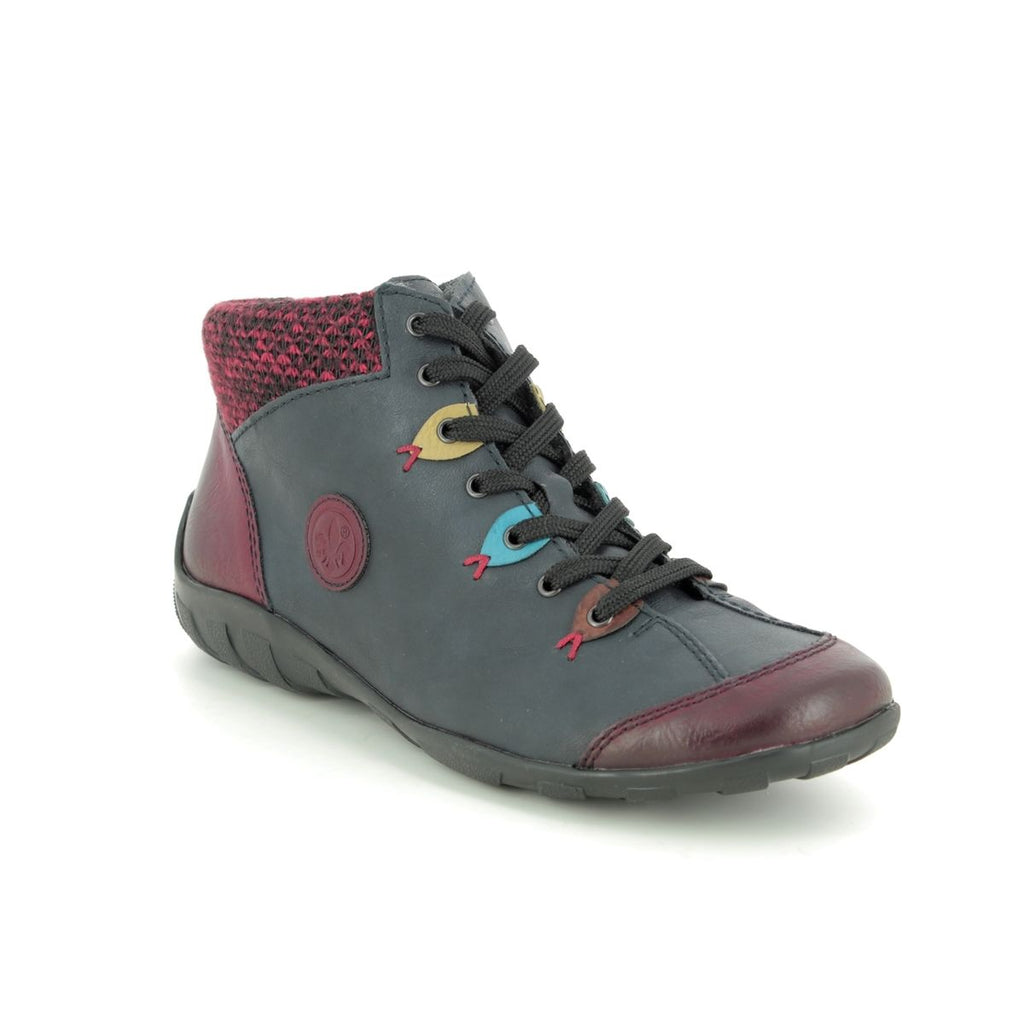 Rieker L6513-37 Casual Lace Boot Wine/Navy Multi
