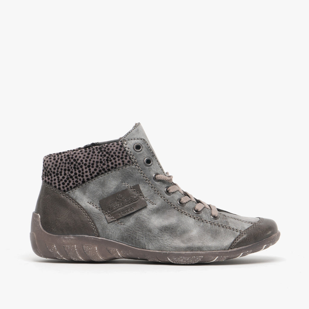 Rieker L6540-45 Lace Up Casual Ankle Boot Grey