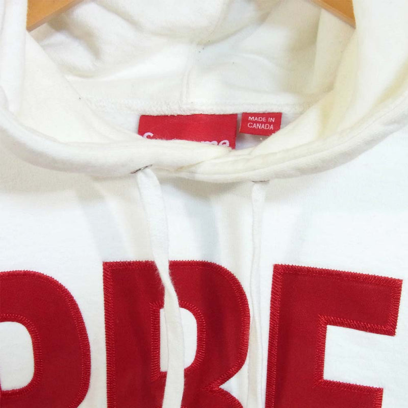 Supreme シュプリーム 14AW Banner Big Logo Hooded sweatshirt パーカー ホワイト系 L【美品】【中古】