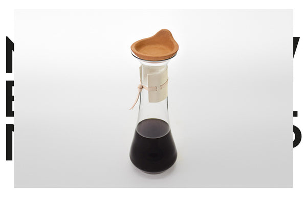 Glass Handless Pitcher with Leather Sleeve, & Terracota Coffee Dripper and Lid