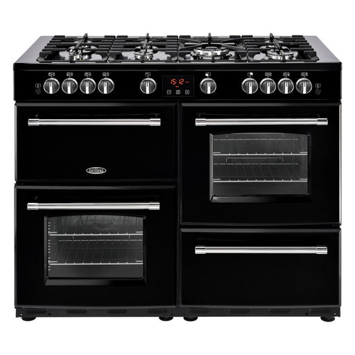 Belling 110DFTBLK, 110cm Cookcenter Dual Fuel Range Cooker, Natural Gas, Black (IN STOCK)