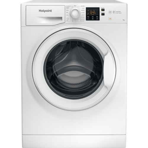 Hotpoint freestanding NSWM 742U W washing machine 7kg 1400 Spin Included in these prices is a contribution to recycling costs of €5  full load in 45mins