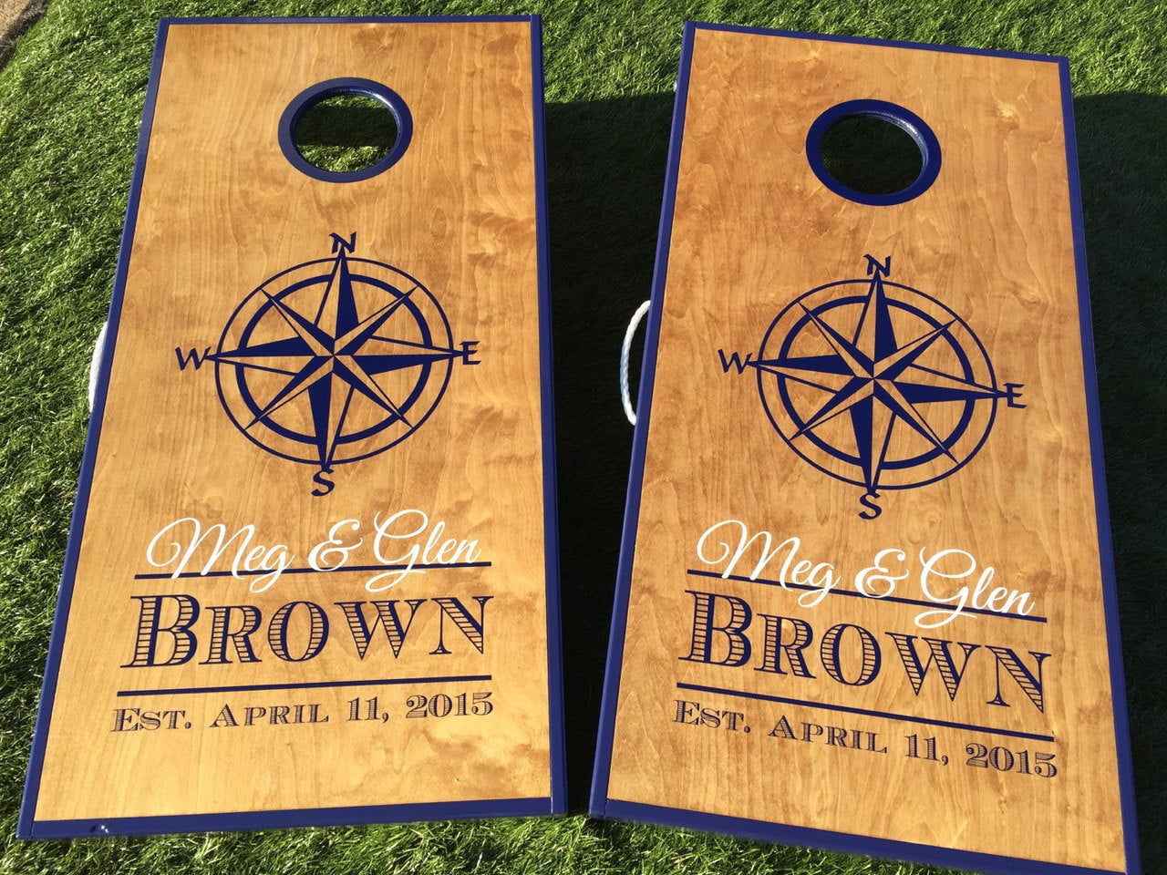 Regulation cornhole boards. Set of two. Compass print. Customizable.