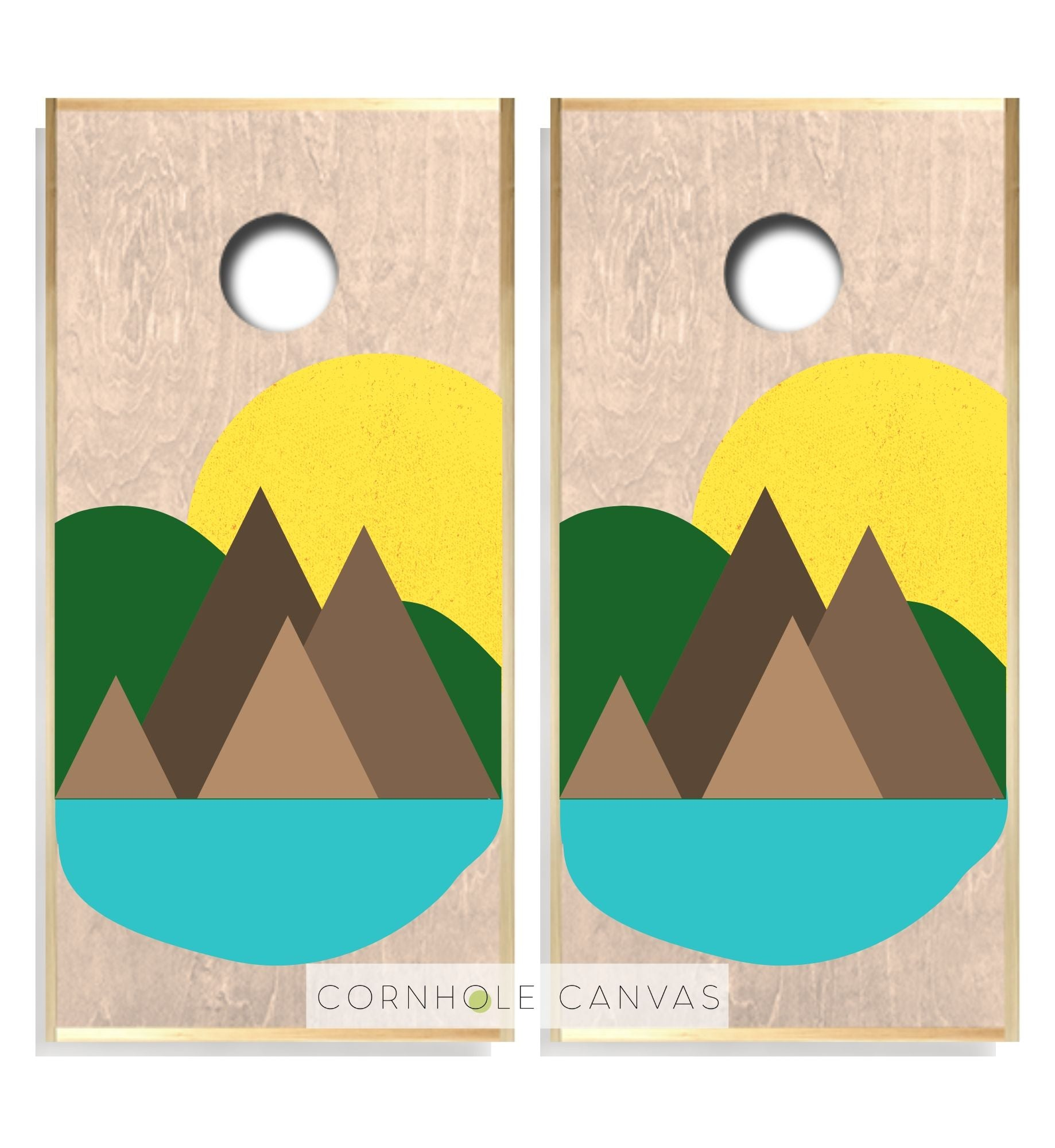 Regulation cornhole boards. Mountain theme. Customizable set.
