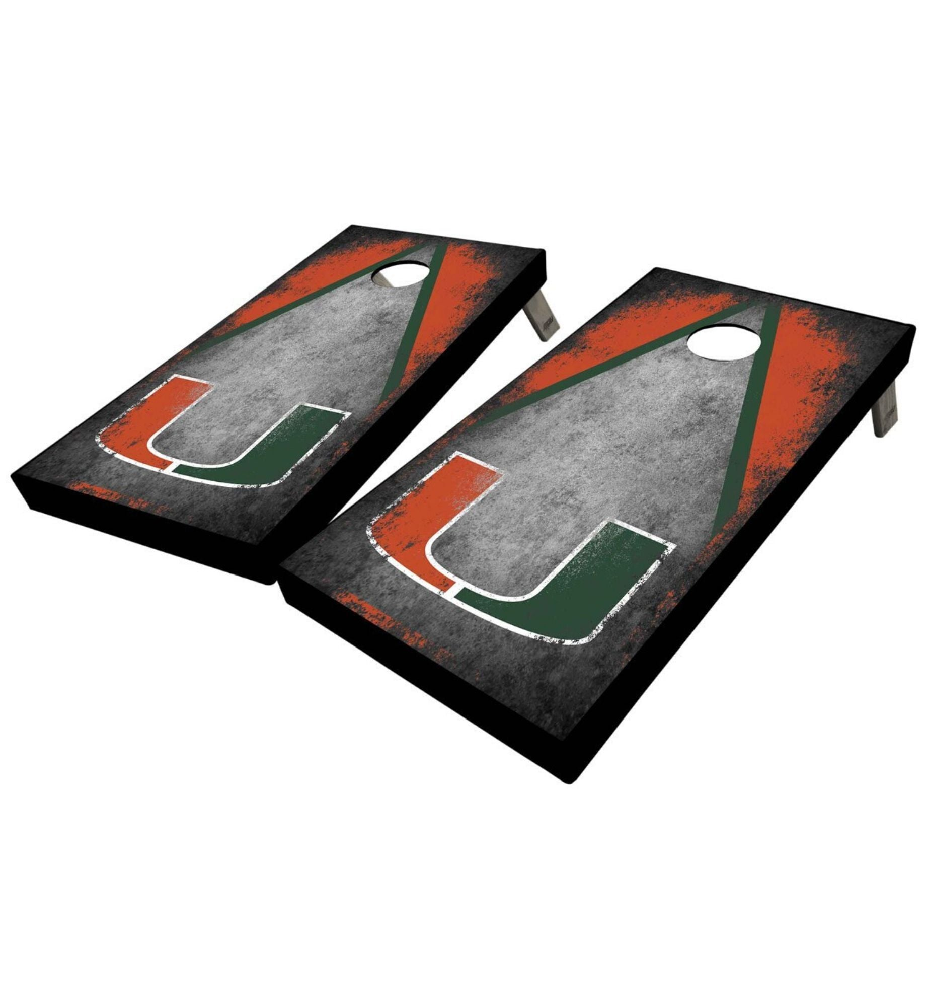 Regulation university of miami cornhole boards. Customizable premium quality cornhole set.