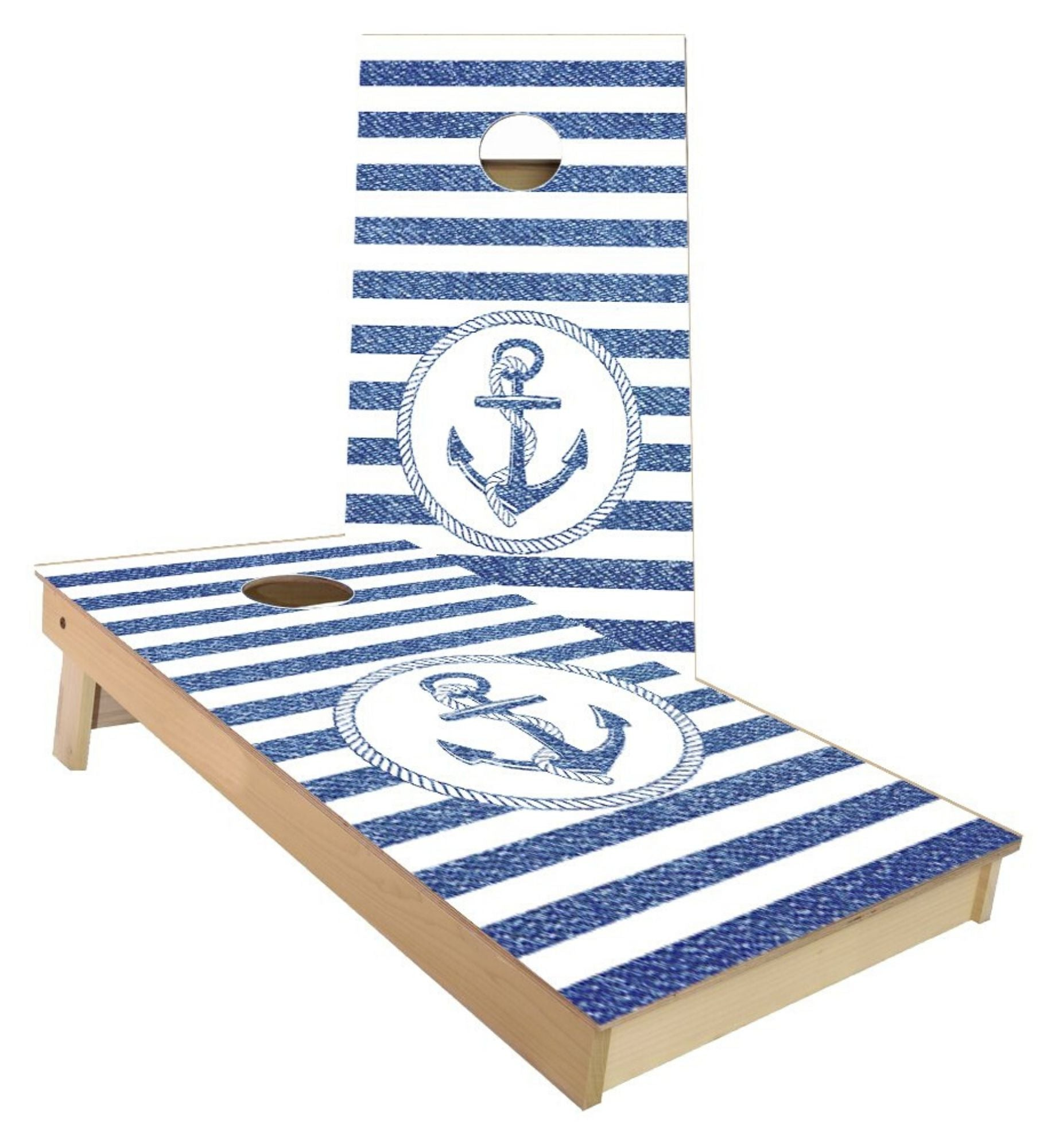 Regulation cornhole boards. Set of two. Custom anchor design.
